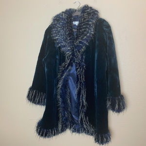 Holiday Blue Festive Faux Fur Cosplay Coat